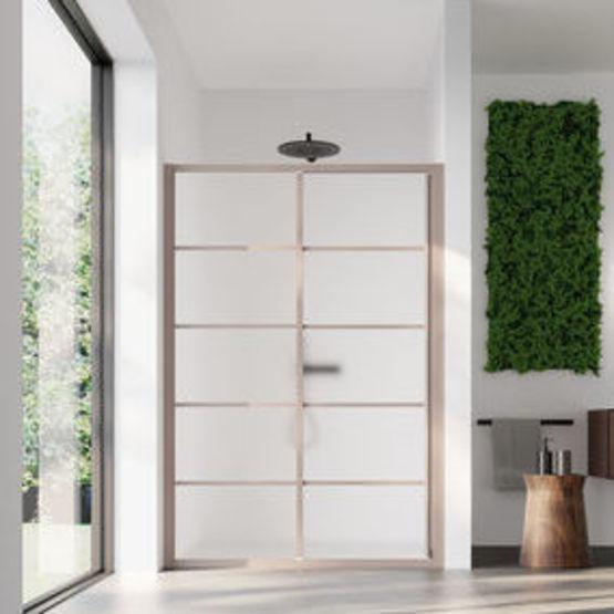 paroi de douche verre opaque traite 4 mm et porte coulissante effet bois japandi