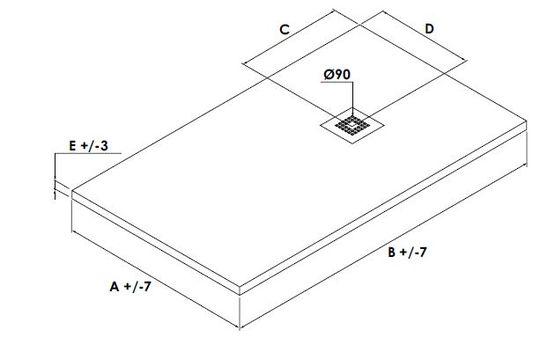 receveur en resine de synthese avec traitement antibacterien extra plat 3cm elmer