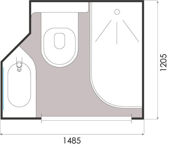 Salle De Bain Prefabriquee A Implantation Carree Grenat Gamme Baudet Intial Baudet