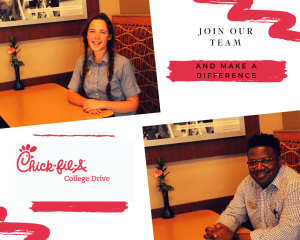 Chick-fil-a College Drive - Join Our Team - Make a Difference