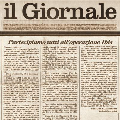 23 aprile 1993 Partecipiamo tutti all' operazione Ibis