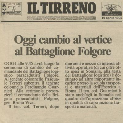 """19 aprile 1995 Cambio al vertice al Battaglione """"Folgore"""""""
