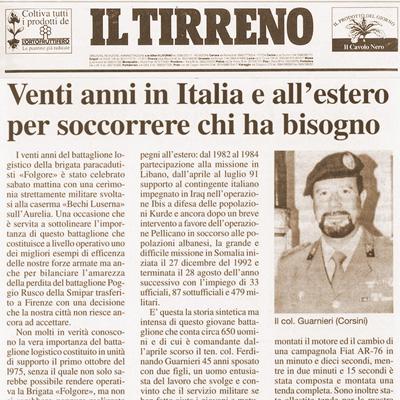 25 settembre 1995 Venti anni in Italia e all' estero per soccorrere chi ha bisogno
