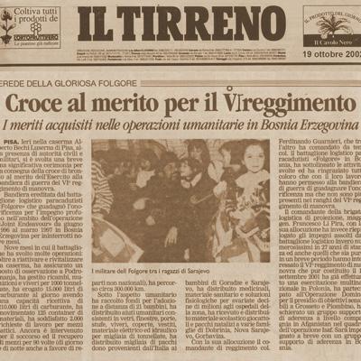 19 ottobre 2002 Croce la merito per il 6° Reggimento di manovra