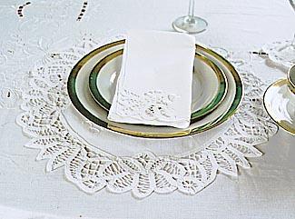 battenburg lace round placemats
