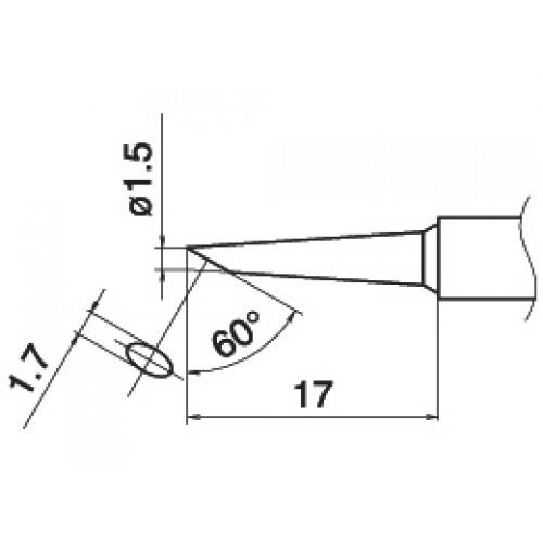 HAKKO T15-BC15 Shape-1.5BC soldering tip for handpiece FM