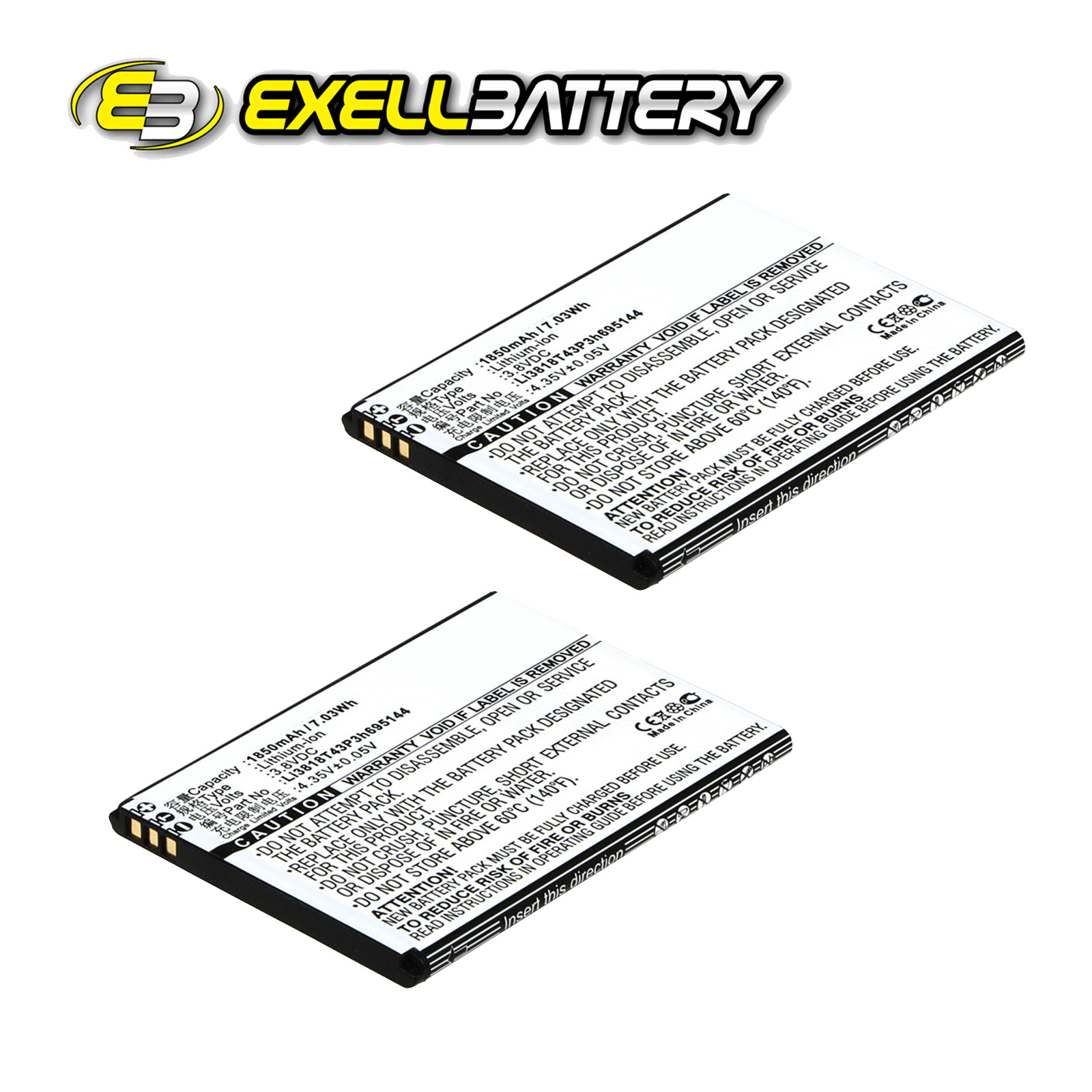 2x 3 8v Mah Mobile Smartphone Battery Fits Zte Kis 3