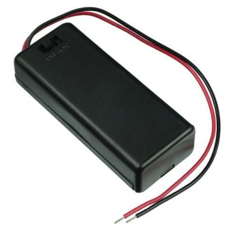 Covered Battery Holder for 2 AAA Batteries with On/Off Switch