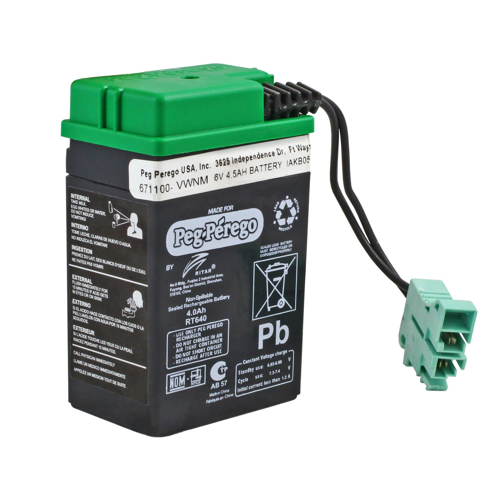 Replacement Peg Perego 6 Volt Green Battery for Peg Perego