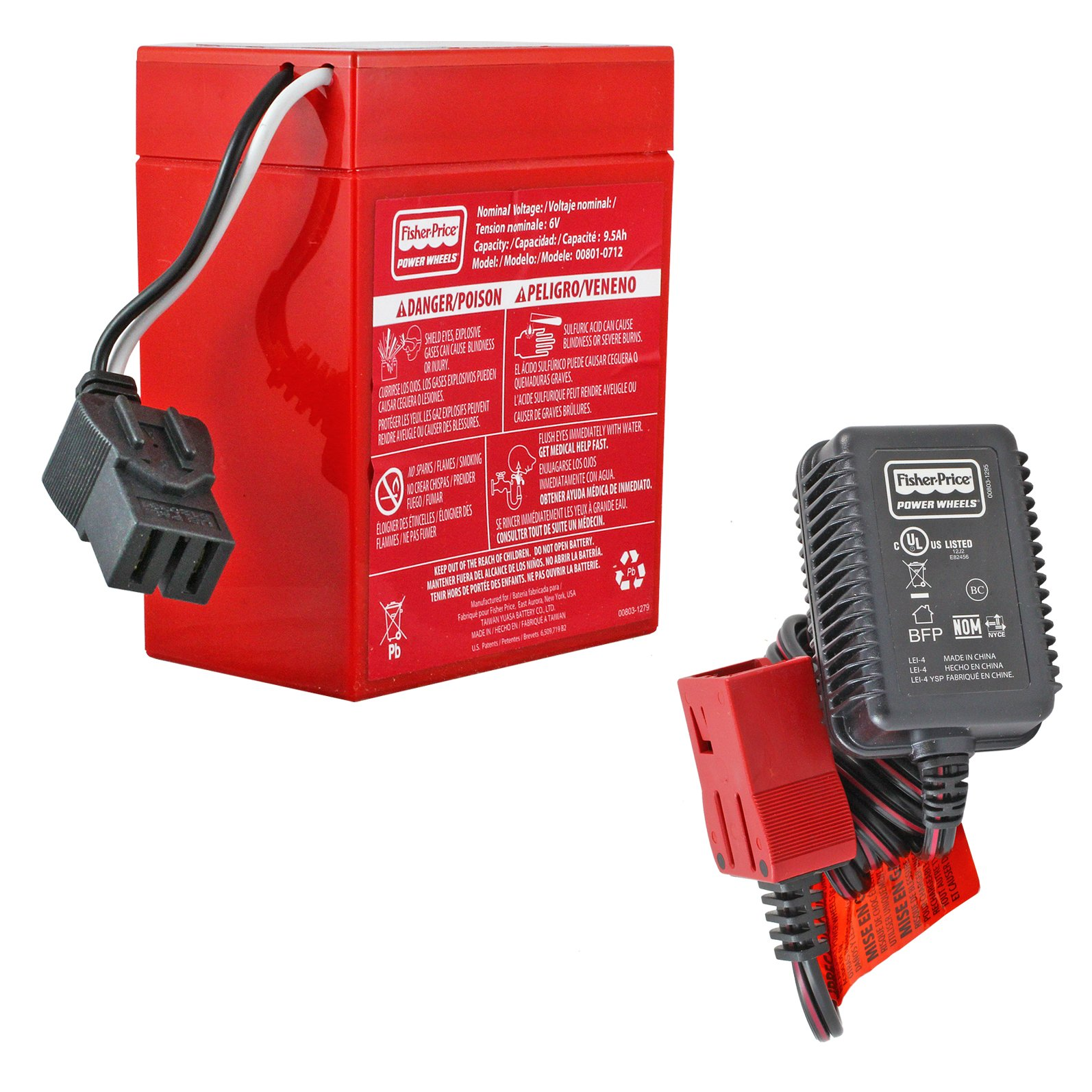 hight resolution of power wheels 6v red battery with charger free shipping batterymart com