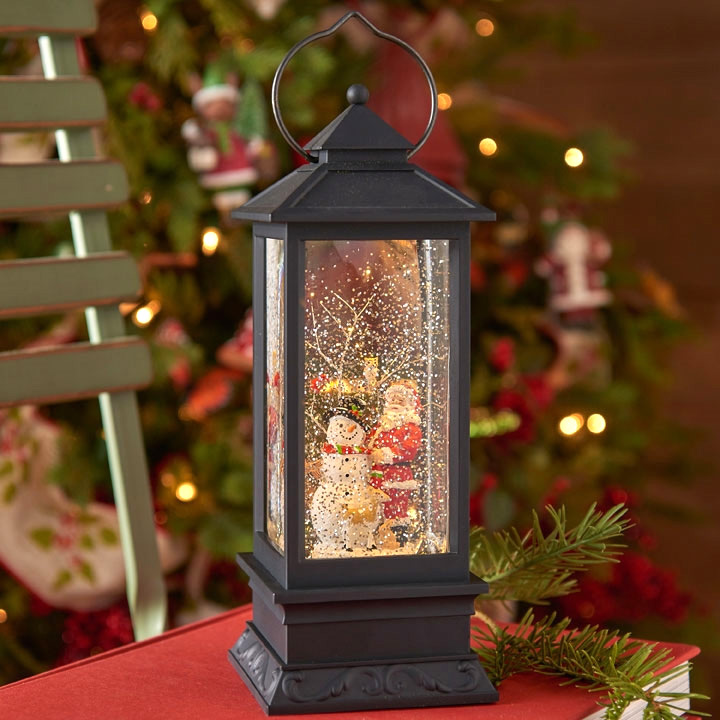 11 Inch Santa And Snowman Lighted Water Lantern Timer