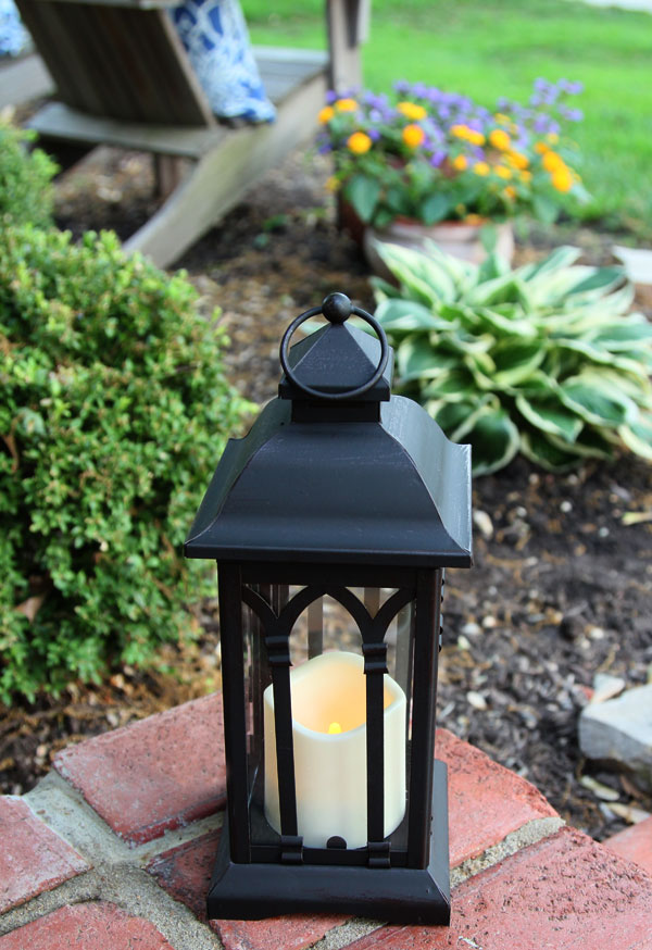Battery Operated 12 Inch Black Metal Candle Lantern  6