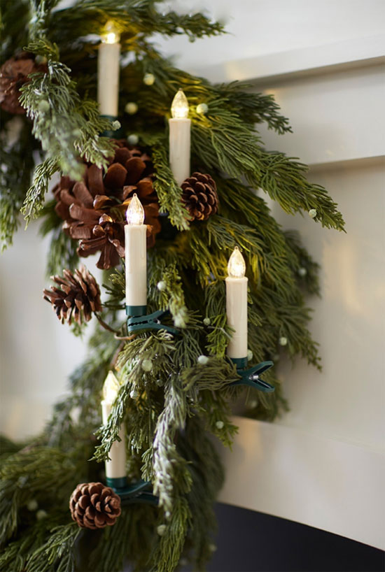 Clip On Christmas Tree Taper Candles Battery Operated Set
