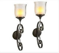 Set of 2 Windsor Sconce - Flameless 4 Inch Wax Pillar with ...