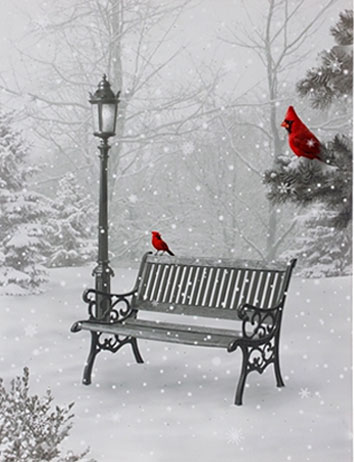 Raz 24 Inch Twinkling LED Lighted Cardinal In Park Scene