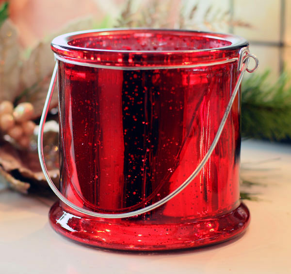 5 Inch Red Mercury Glass Candle Holder  Buy Now