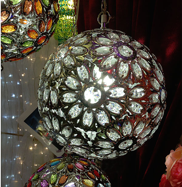 Large Round Crystal Jewel Hanging Chandelier 14 Inch Diameter