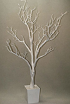4 Foot White Tree In Decorative Pot Bendable Branches