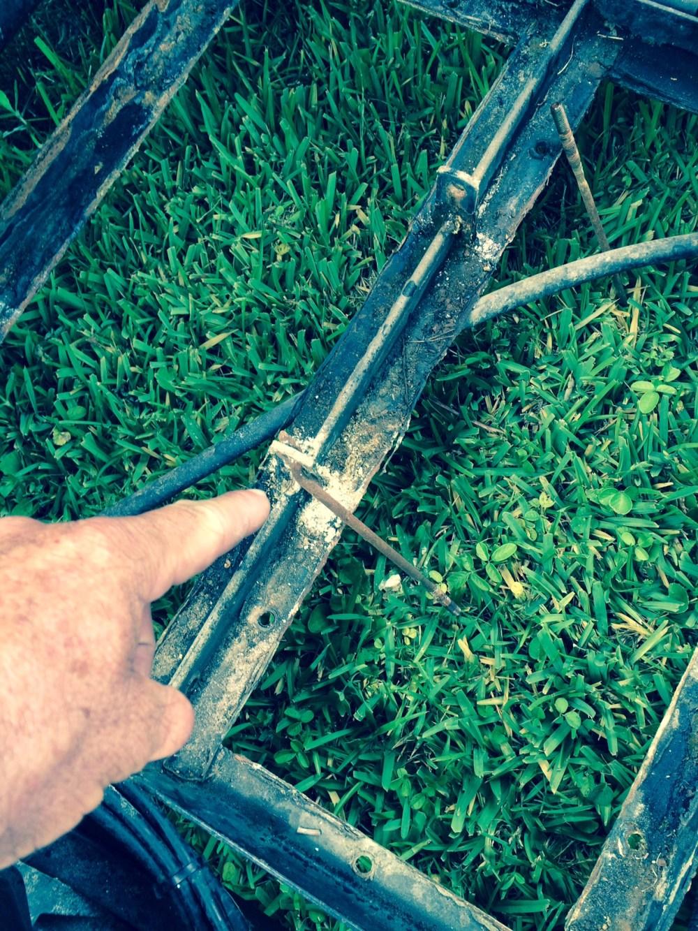 medium resolution of ezgo golf cart battery bank frame area inspection corrosion close up batterypete com