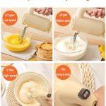 LJFJJ Mixeur Plongeant 5 vitesses Mélangeur de pâte avec 2 fouets en acier inoxydable Bouton d'éjection Batteur à oeufs de robot culinaire Pour les outils de cuisine (Color : Beige)