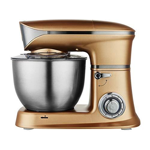 Stand mélangeur 1300W, mélangeur Alimentaire de 6,5 l, mélangeur de Cuisine à 6 Vitesses d'inclinaison avec Crochet de la pâte et Batteur, Fouet, Bruit inférieur (Color : Gold, Size : 42×25.5x34cm)