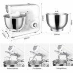 JHNEA Robot Pâtissier, 1200W, Robot Pâtissier avec Bol d'acier INOX 4L,à 5 Vitesses Robot Pétrin avec Fouet à Fils,Batteur,Crochet,White