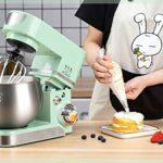 JHNEA Robot Pâtissier, 1200W, Robot Pâtissier avec Bol d'acier INOX 5.5L,à 6 Vitesses Robot Pétrin avec Fouet à Fils,Batteur,Crochet,