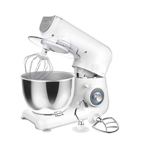 JHNEA Robot Pâtissier, 4L Robot avec Kit pâtisserie (Fouet à Fils, Batteur, Crochet), Bol en Acier Inoxydable, Couvercle Verseur, 5 Vitesses avec Fonction Pulse, 1200W,White