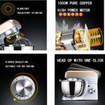 JHNEA Robot Pâtissier, 5L Robot avec Kit pâtisserie (Fouet à Fils, Batteur, Crochet), Bol en Acier Inoxydable, Couvercle Verseur, 8 Vitesses avec Fonction Pulse, 1000W,1000W