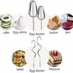 Mélangeur à main électrique, fouet 5 vitesses Mélangeur de la main Professionnel Mélangeur de nourriture et de gâteau pour la cuisson, le mélangeur professionnel comprend des batteurs, des crochets de