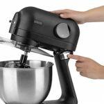 N8WERK Robot de cuisine Midnight Edition   Fouet, crochet à pâte   Protection contre les éclaboussures avec ouverture pour aliments   Bol en acier inoxydable de 5 L   6 réglages de vitesse   1200 W