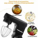 TOBEELEC Robot de cuisine – 1500 W – Robot pétrisseur de bruit réduit de 7 l – Avec fouet, crochet pétrisseur, fouet, protection anti-éclaboussures – 6 vitesses avec bol en acier inoxydable – Noir