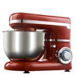 Blender électrique à pain – Mixeur alimentaire avec bols de 4 l – Crochet à pâte, batette, fouet et et protection anti-éclaboussures – 6 vitesses – Pour gâteaux, pâtes, pain, desserts