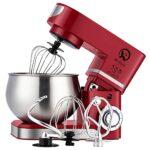 Batteur sur socle 6L 1200W Robot Pâtissier Mélangeur de nourriture Mélangeur de cuisine élégant avec bol, batteur, crochet, fouet (ROUGE)