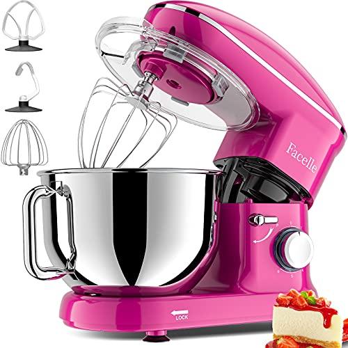 Facelle Robot Pâtissier,1500W,6 vitesses,bol en acier inoxydable de 6L,avec Crochet Pétrisseur,Batteur,Fouet à Fil,protection contre les éclaboussures,pour la cuisson,les gâteaux,les biscuits(Pourpre)