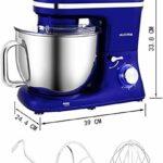 Robot Pâtissier Multifonctions 7L, Aucma 1400W Faible Bruit Robot Cuisine, 6 Vitesses Batteur Sur Socle Electrique, Robot Mixeur Pâtisserie Robot avec Crochet Pétrisseur, Batteur, Fouet à Fil, Bleu