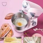 SMEJS Bol en Acier Inoxydable de Grande capacité 6 Vitesses Cuisine Batteur de Nourriture Batteur à Oeufs crème Fouet mélangeur pâte à gâteau Machine à Pain