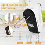 Aigostar Pudding – Batteur électrique, 6 vitesses + Turbo, 400W. Bouton d'éjection, 2 batteurs, 2 crochets pétrisseurs, 1 fouet et étui de rangement. Accessoires lavables au lave-vaisselle.