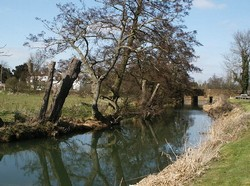 Looking north along the river Cherwell to Cropredy bridge, with Cropredy village on the left. Though not a major river, the Cherwell was still sufficient of a barrier to preclude an attack other than across a bridge or ford.