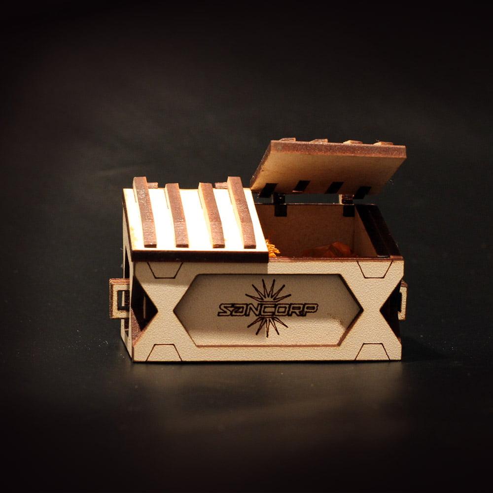 bin model for wargaming terrain