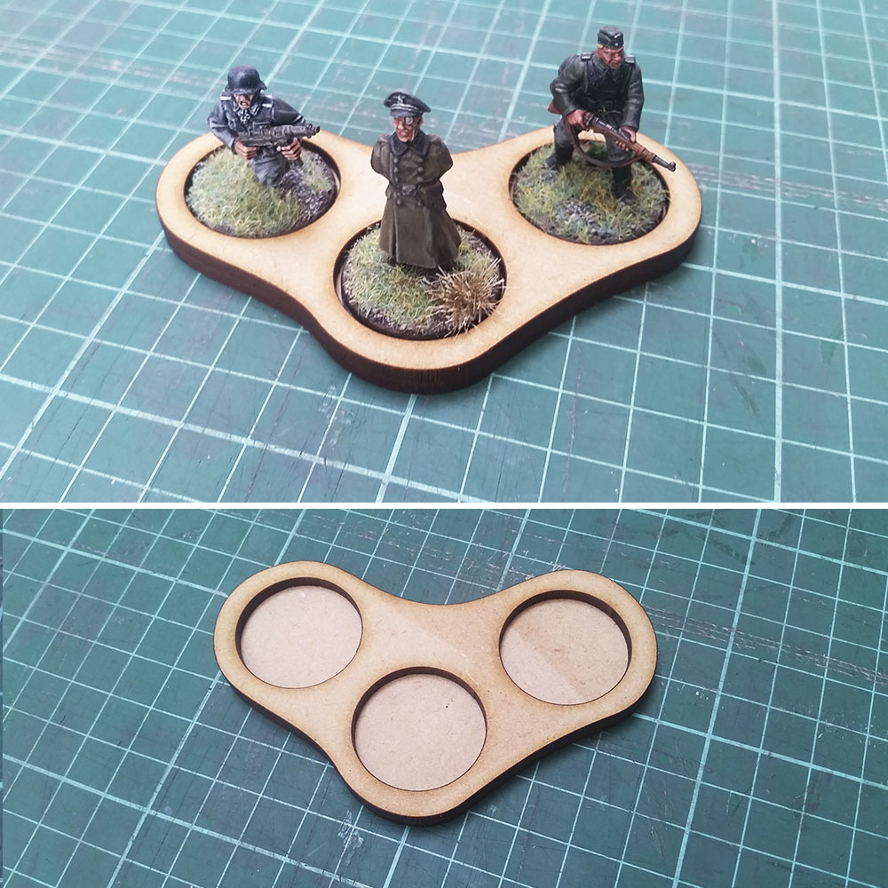 25mm round base skirmish trays for 3 men