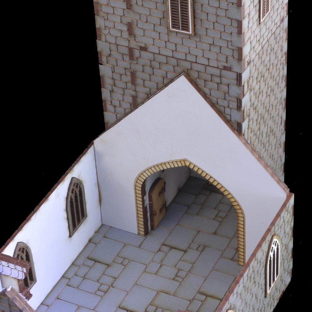 laser cut details on 28mm church