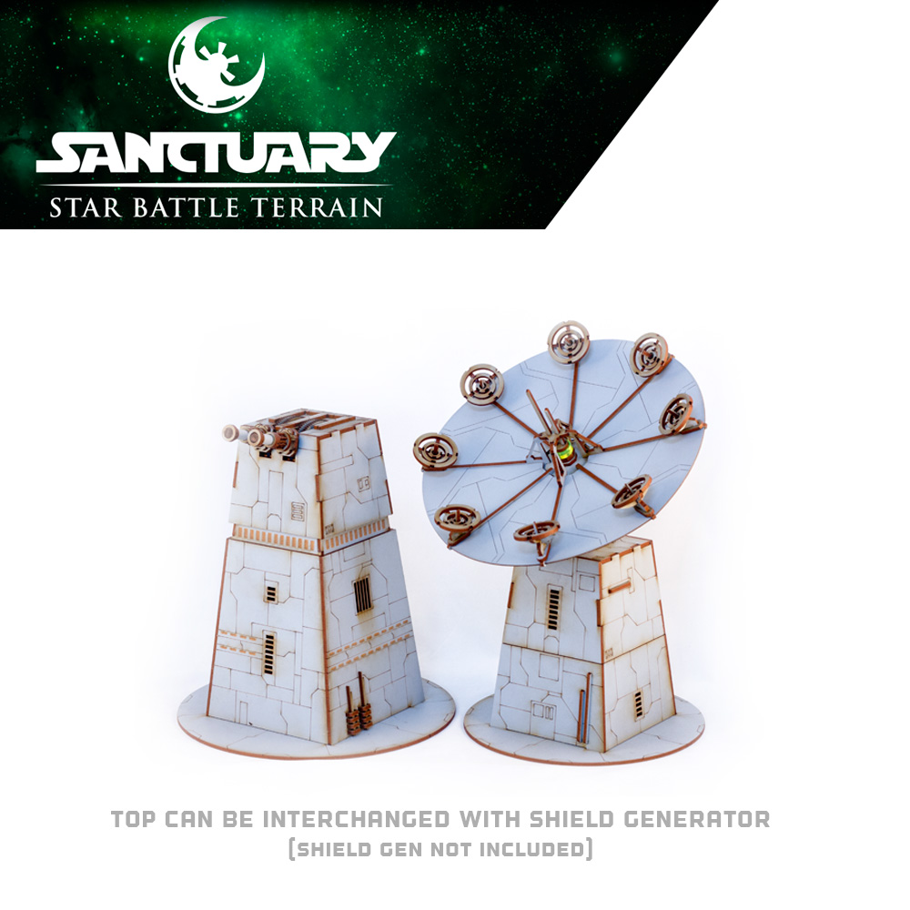 laser tower and shield generator for sci fi wargaming terrain