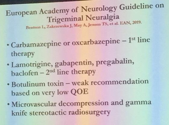 Trigeminal neuralgia treatment protocol.