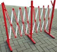 Scherengitter rot/weiss aus Metall ausziehbar auf 4 m