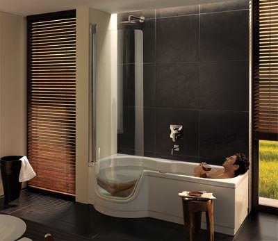 Dusche zum Baden aus StahlEmail  Badewanne mit Tr