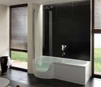 Dusche zum Baden aus Stahl/Email | Badewanne mit Tr