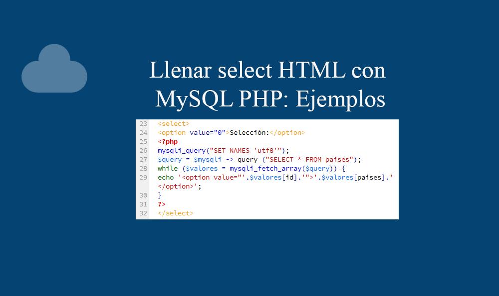 Llenar select HTML con MySQL PHP Ejemplos
