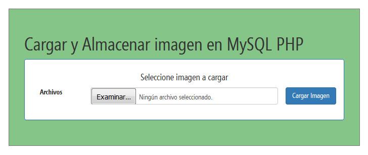 Cargar y almacenar imagen en MySQL