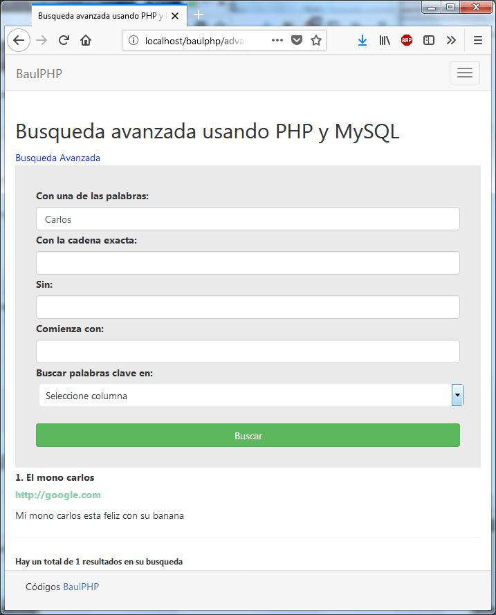 Descargar búsqueda avanzada PHP y MySQL